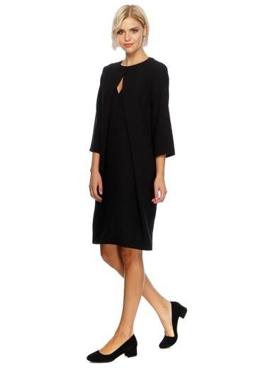 Fabrika Uzun Kollu Düz Elbise Siyah